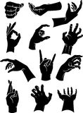 Hand Signs Collection. Variation of hand gestures silhouette set, isolated on white background Stock Image