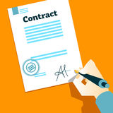 Hand signs contract. Vector illustration Royalty Free Stock Photography