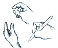 Hand Signs and Hand Writing With A Pen Stock Images