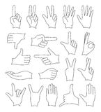 Hand signs icons set. Human Hand collection, different hands, gestures, signals and signs. Vector icon set Stock Photo