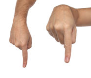 Hand signs. Male finger pointing down Royalty Free Stock Photo