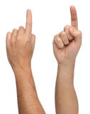 Hand signs. Pointing or touching something. Stock Photo