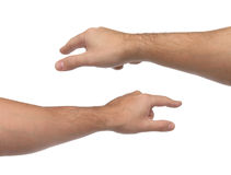 Hand signs. Pointing or touching something. Stock Images