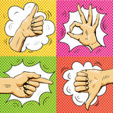 Hand signs in retro pop art style. Cartoon comic vector set. Pointing finger, ok sign, thumb up. Royalty Free Stock Images