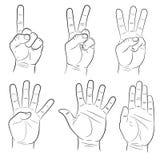 Hand signs set monochrome  illustration Stock Photo
