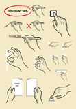 Hand signs symbol, press, write, zoom, read. Royalty Free Stock Photos