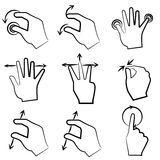 Hand signs, touch screen Stock Photography