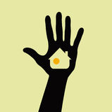 Hand silhouette. Hand with house silhouette,  illustration Stock Photos