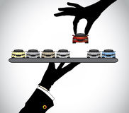 Hand silhouette choosing the best red car from car dealer agent. And concept illustration of customer selecting a beautiful red car from a set of cars offered Stock Photo