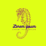 Hand silhouette drawing seahorse Royalty Free Stock Photography