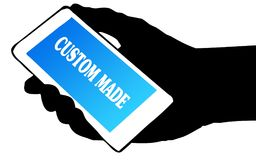 Hand silhouette holding phone with CUSTOM MADE text. Illustration concept Stock Photos