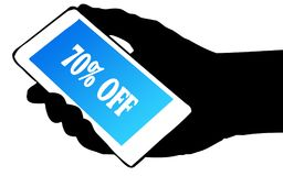 Hand silhouette holding phone with 70 PERCENT OFF text. Illustration concept Stock Photos