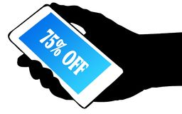 Hand silhouette holding phone with 75 PERCENT OFF text. Illustration concept royalty free illustration