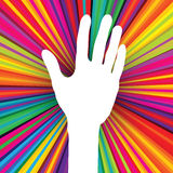 Hand silhouette on psychedelic background Royalty Free Stock Photography
