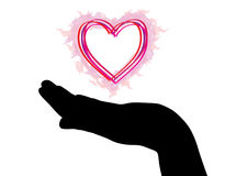 Hand Silhouette With Heart Stock Photos