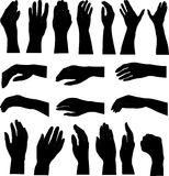 Hand silhouettes 1. Lots of hand illustrations of men and women Royalty Free Stock Images
