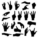 Hand Silhouettes Set Stock Images