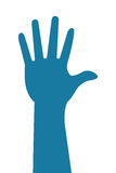 Hand silhoutte icon. Blue simple flat design hand silhoutte icon  illustration Royalty Free Stock Photography