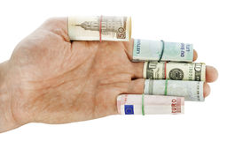 Hand of the simple worker. Movement towards money Royalty Free Stock Photography