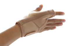 Hand and single finger with orthosis isolated Royalty Free Stock Photo