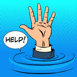 Hand sinking asks for help. Business concept Royalty Free Stock Photo