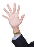 Hand with six fingers. Six fingers pointing up, counting number 6, by adding extra finger in a surreal surprising way, with arm in business suit. Isolated over Stock Photo