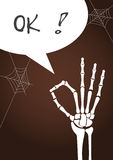 Hand skeleton with text , Design for Halloween poster,card,Vector illustrations Royalty Free Stock Photos