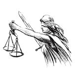 Hand sketch allegory of justice Stock Photo