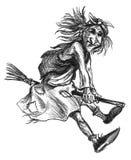 Hand sketch of Baba Yaga Royalty Free Stock Photos