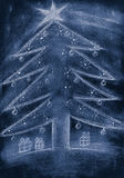 Hand sketch blue Christmas tree with gifts Royalty Free Stock Images