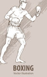 Hand sketch of a boxing man. Vector sport illustration. Graphic silhouette of the athlete on background. Hand sketch of a boxing man. Vector sport illustration Stock Photo