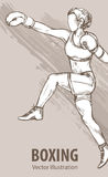 Hand sketch of a boxing women. Vector sport illustration. Graphic silhouette of the athlete on background. stock illustration