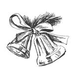 Hand sketch of Christmas bells Royalty Free Stock Images