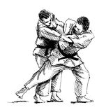 Hand sketch competing judo. Vector illustration Royalty Free Stock Image