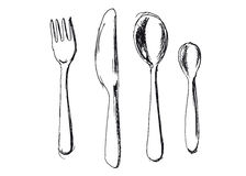 Hand sketch cutlery Royalty Free Stock Image