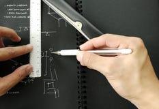 Hand sketch on dark paper Stock Photos