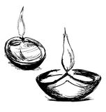 Hand sketch Diwali lamp. Vector illustration royalty free illustration