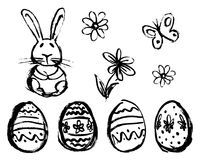 Hand Sketch of Easter Elements Royalty Free Stock Photos
