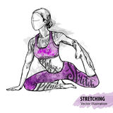 Hand sketch of a girl stretching. Vector sport illustration. Watercolor silhouette of the athlete with thematic words. Text graphics, lettering Stock Image