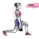 Hand sketch of a girl is training with weight. Vector sport illustration. royalty free illustration