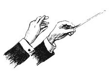 Hand sketch the hands of conductor Royalty Free Stock Photo