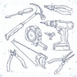 Hand sketch icons set of carpentry tools, a saw, pliers, screwdriver and tape measure stock photography