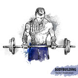 Hand sketch of a man with a barbell. Vector sport illustration.