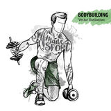 Hand sketch of a man is training with dumbbells. Vector sport illustration.