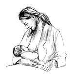 Hand sketch mother nursing baby Royalty Free Stock Images