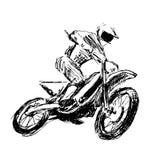 Hand sketch motocross rider Royalty Free Stock Photo