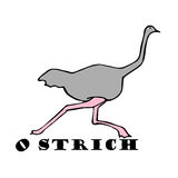 Hand sketch of ostrich, draw. Hand sketch of ostrich. funny ostrich draw Stock Photo