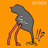 Hand sketch of ostrich, draw. Hand sketch of ostrich. funny ostrich draw Royalty Free Stock Photography