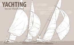 Hand sketch of sailing yachts regatta. Races in the sea. Vector sport illustration. Graphic silhouette of yachts on. Background design. Active people. Traveling royalty free illustration