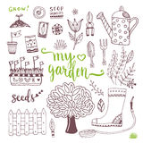 Hand sketch set of Garden doodle elements - seed packets, tools,  tree and watering can Stock Photography